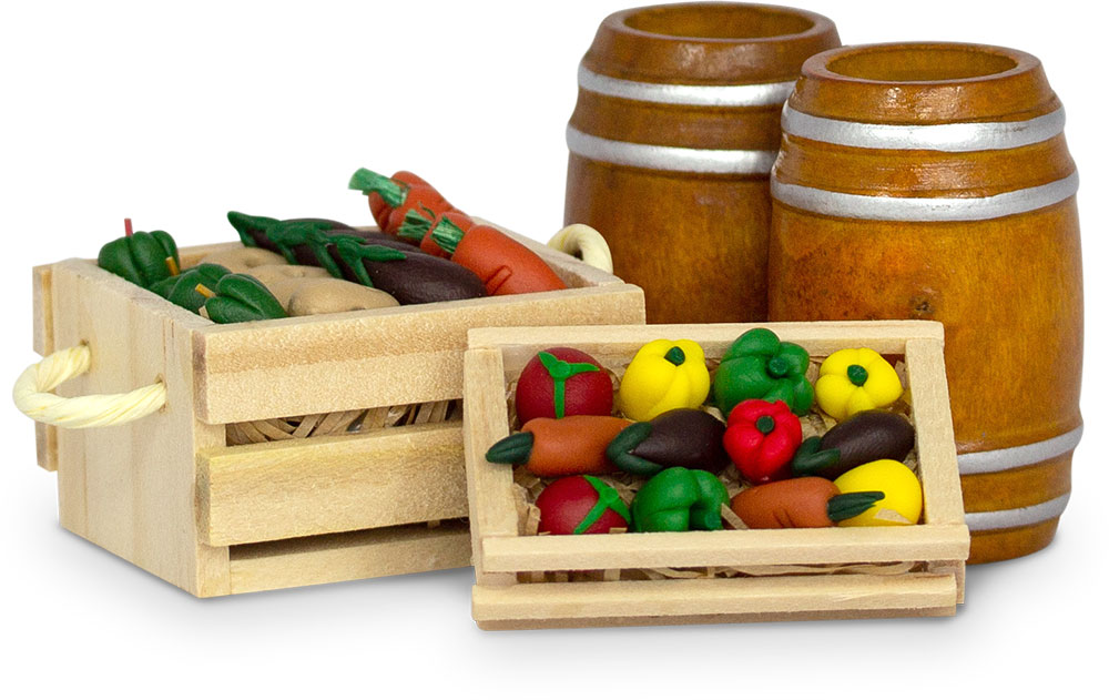 An image of miniature barrels and crates of vegetables